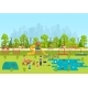 Public Park with a Playground and a Lake. - GraphicRiver Item for Sale