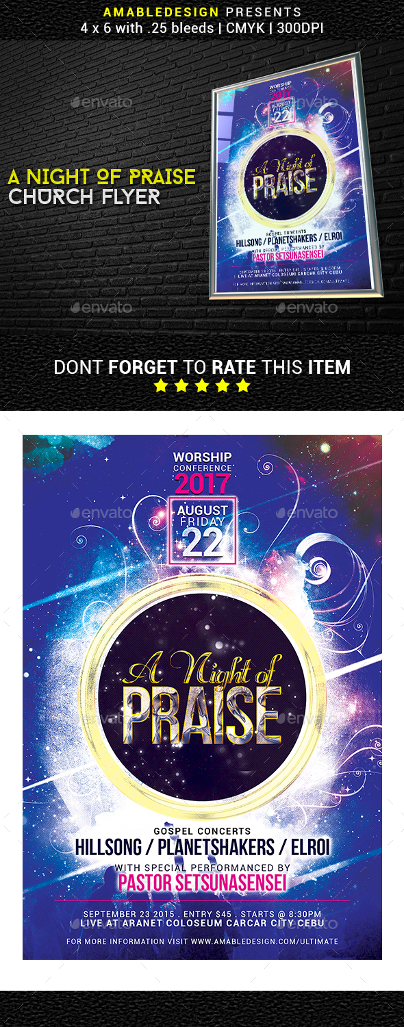 A Night of Praise Church Flyer - Church Flyers