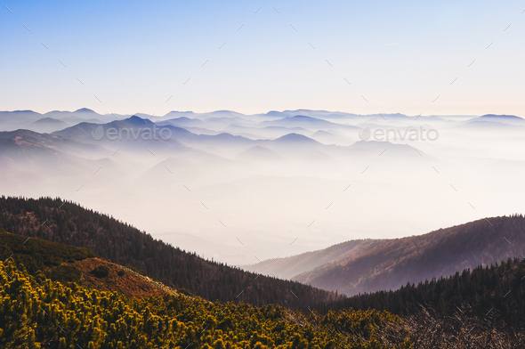 Landscape view of autumn misty mountains, Slovakia - Stock Photo - Images