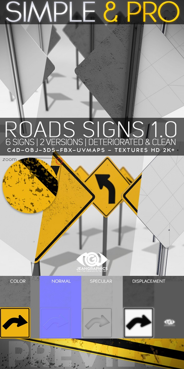 3DOcean Roads Signs 1.0 & Textures 20473760
