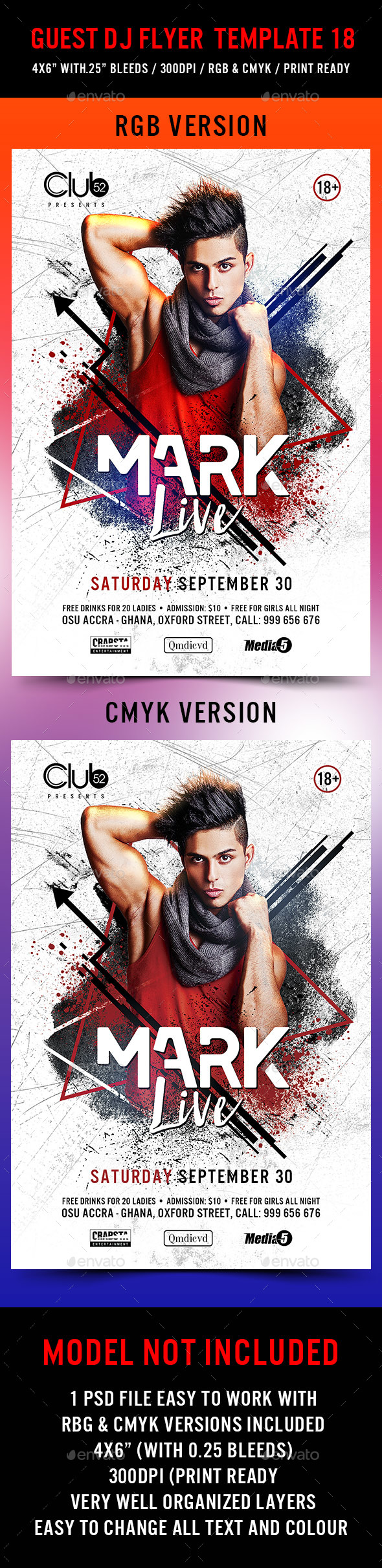 Guest DJ Flyer Template 18 - Clubs & Parties Events