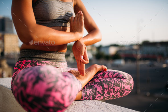 Female person body in yoga pose, yogi training - Stock Photo - Images