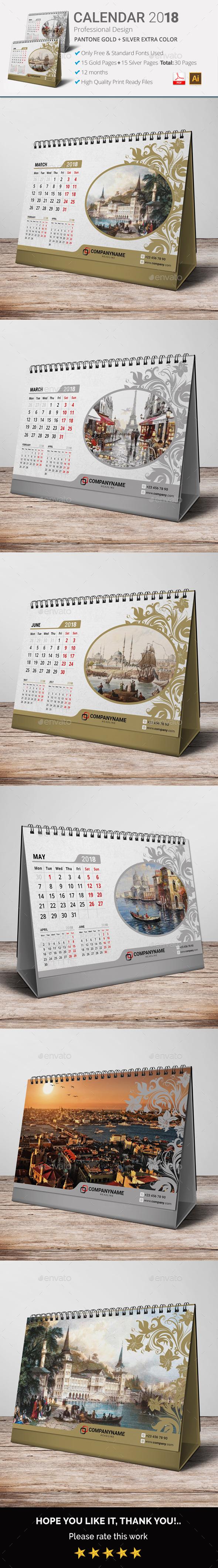 Calendar 2018 Gold & Silver - Calendars Stationery