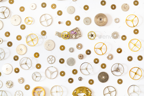 ornament from various old watch spare parts Stock Photo by