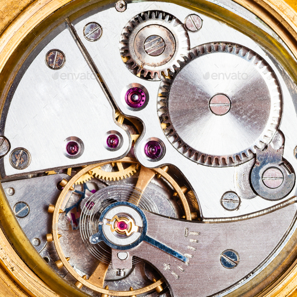 clockwork of old mechanical golden watch - Stock Photo - Images