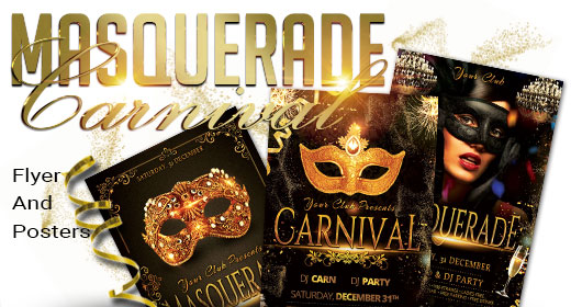 Masquerade, Mardi Gras, Carnival Flyer And Poster