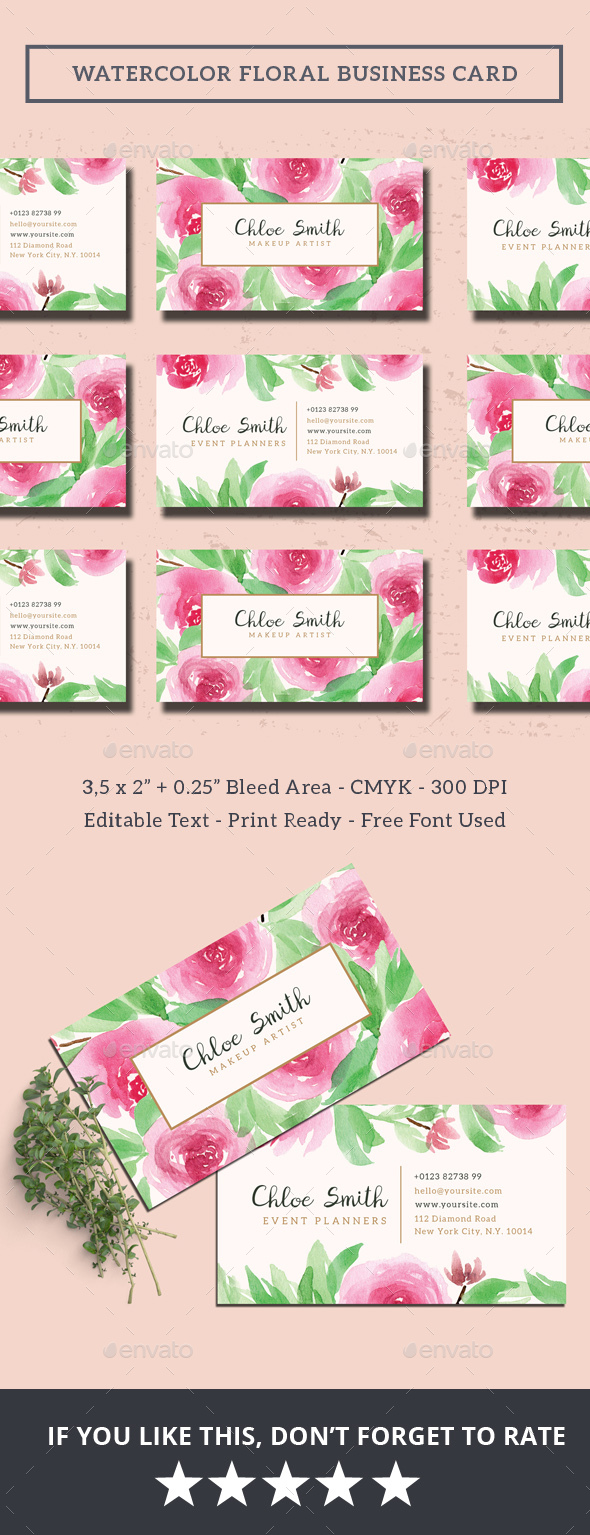 Watercolor Floral Business Card by iamwulano | GraphicRiver