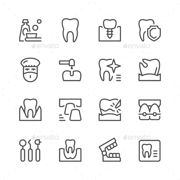 Set of Dental Related Line Icons - Man-made objects Objects