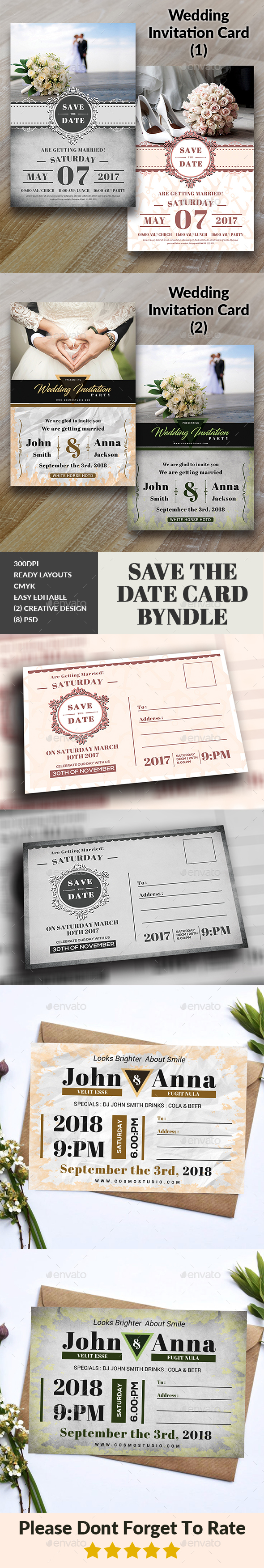 GraphicRiver Wedding Invitation Card Bundle 20474405