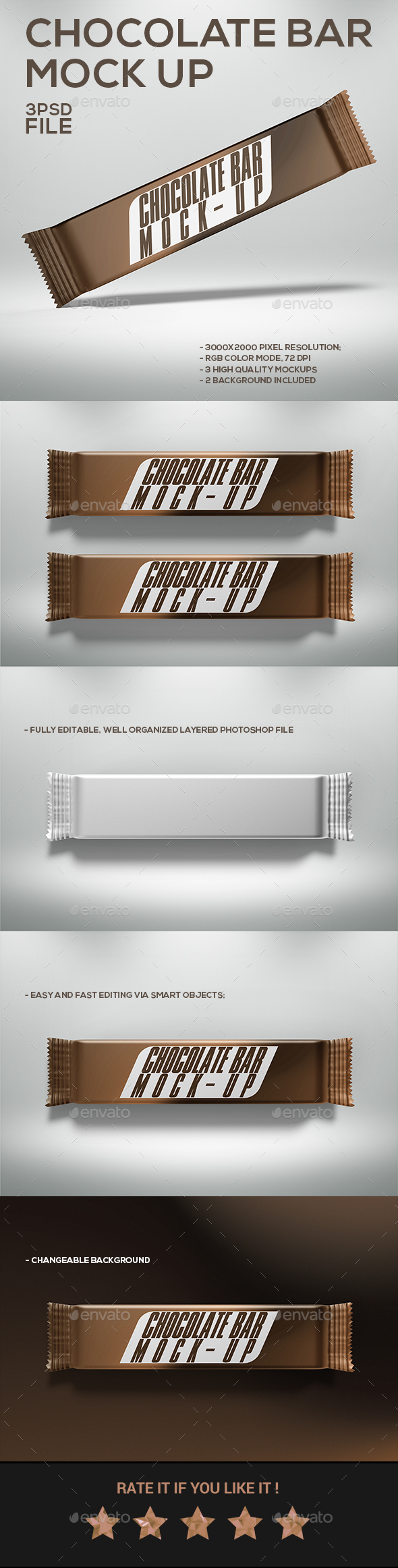 GraphicRiver Chocolate Bar Mock-Up 20474410