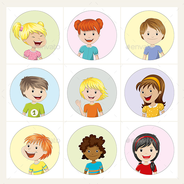 Set of Kids Avatar Icons - People Characters
