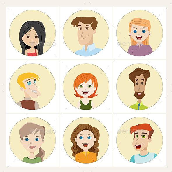 Set of People Avatar Icons - People Characters
