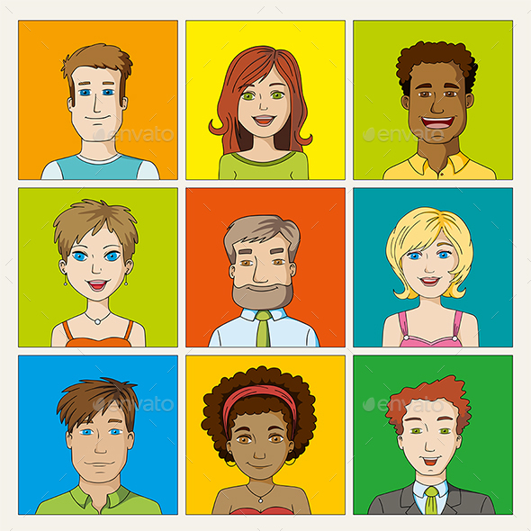 Set of Cartoon People Avatar Icons - People Characters