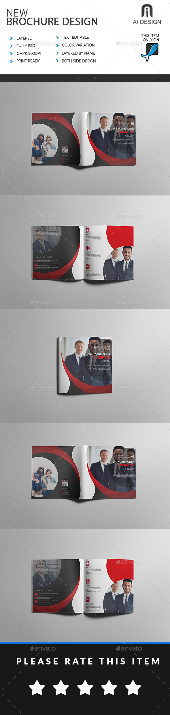 Business Bi Fold Brochure - Brochures Print Templates