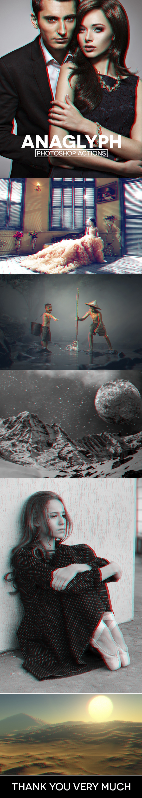 3D Red/Cyan Anaglyph Photoshop Actions - Photo Effects Actions