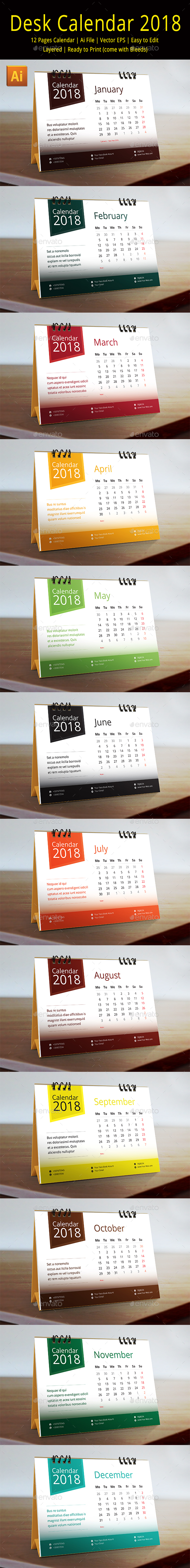 2018 Desk Calendar - Calendars Stationery