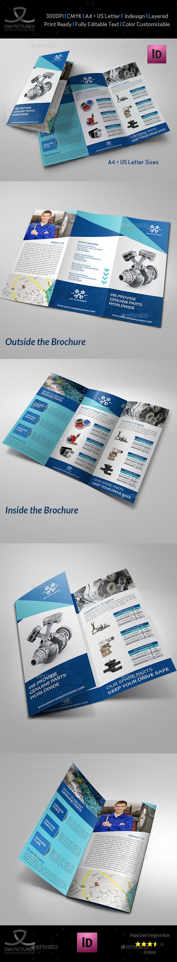 Auto Parts Catalog Tri-Fold Brochure Template - Catalogs Brochures