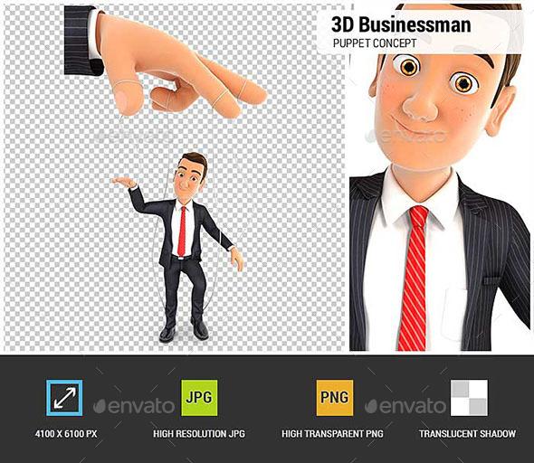 3D Businessman Puppet Concept - Characters 3D Renders