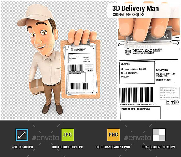 3D Delivery Man Signature Request - Characters 3D Renders