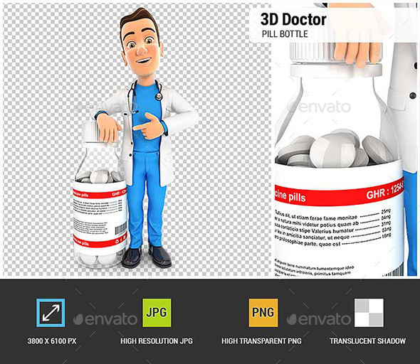 3D Doctor Standing Next to Pill Bottle - Characters 3D Renders