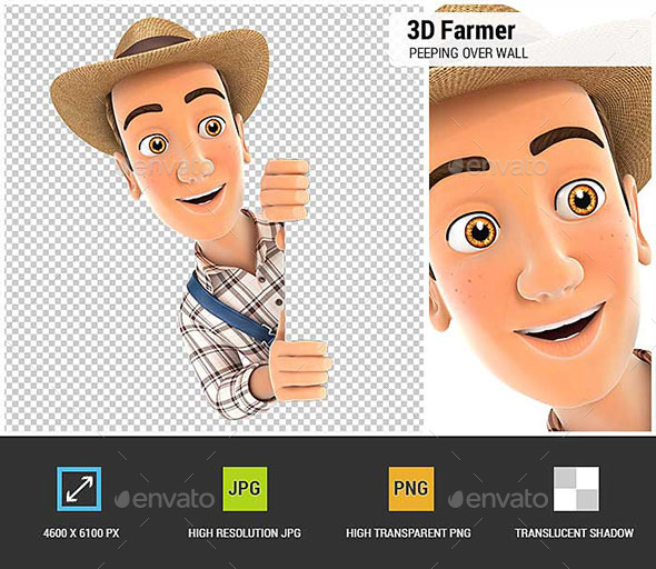 3D Farmer Peeping Over Blank Wall - Characters 3D Renders