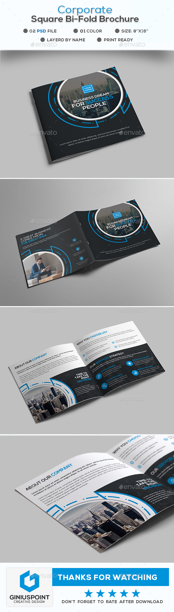 Corporate Square Bi-Fold Brochure - Corporate Brochures