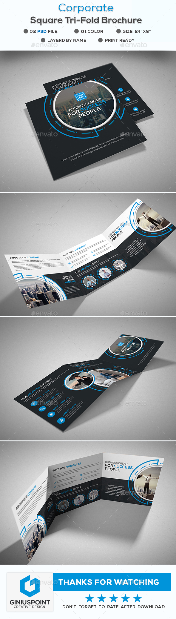 Corporate Square Tri-Fold Brochure - Corporate Brochures