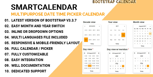 CodeCanyon SmartCalendar Multipurpose Date Time Picker Calendar 20474868