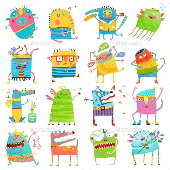 Cartoon Colorful Monsters for Kids Big Collection - Animals Characters