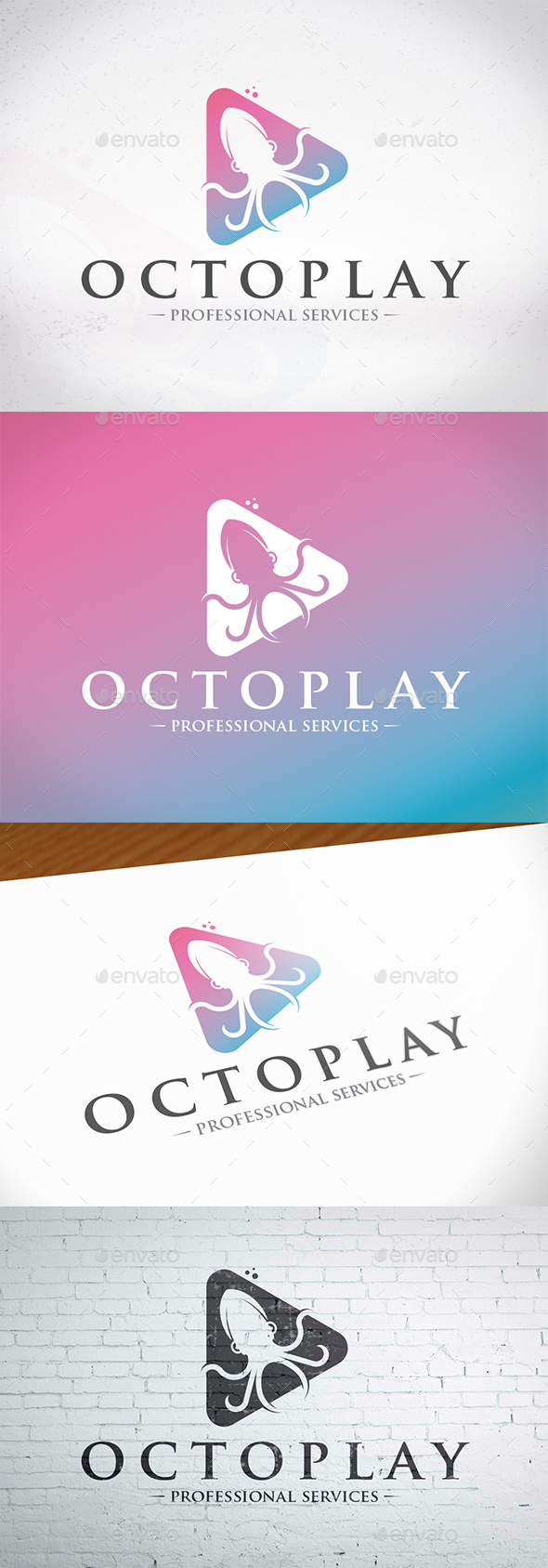 Play Octopus Logo Template - Animals Logo Templates
