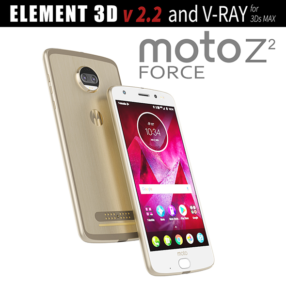 Moto Z2 Force GOLD model - 3DOcean Item for Sale