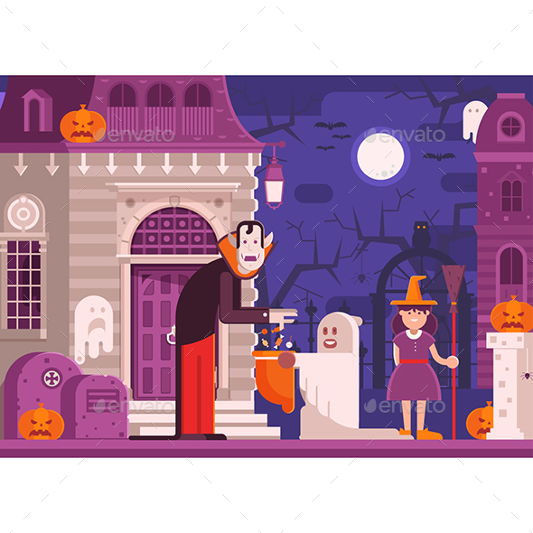 Trick or Treat Children Halloween Scene - Halloween Seasons/Holidays