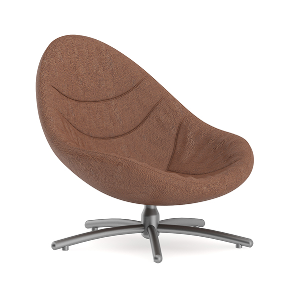 Brown Leather Swivel Chair - 3DOcean Item for Sale
