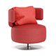 Red Leather Swivel Chair with Pillow - 3DOcean Item for Sale