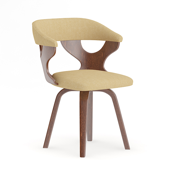 Wooden Chair with Fabric Seat and Back - 3DOcean Item for Sale