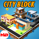 Low Poly City buildings (Coffee shop, Pizza, small builings) - 3DOcean Item for Sale