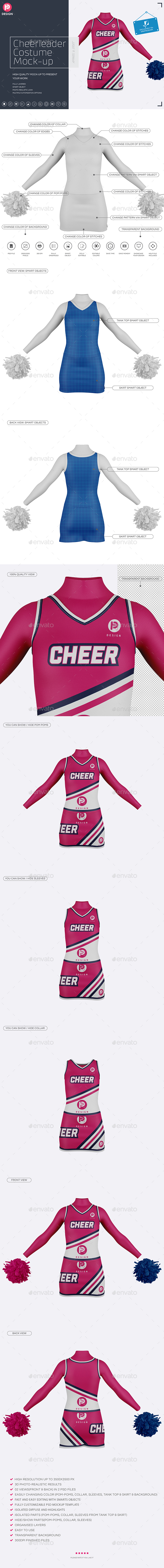 GraphicRiver Cheerleader Costume Mock-Up Front & Back views 20475648