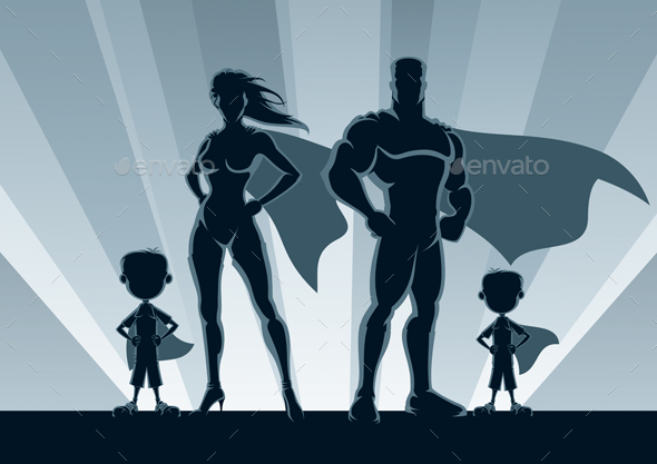 Superhero Family 2 Boys - People Characters