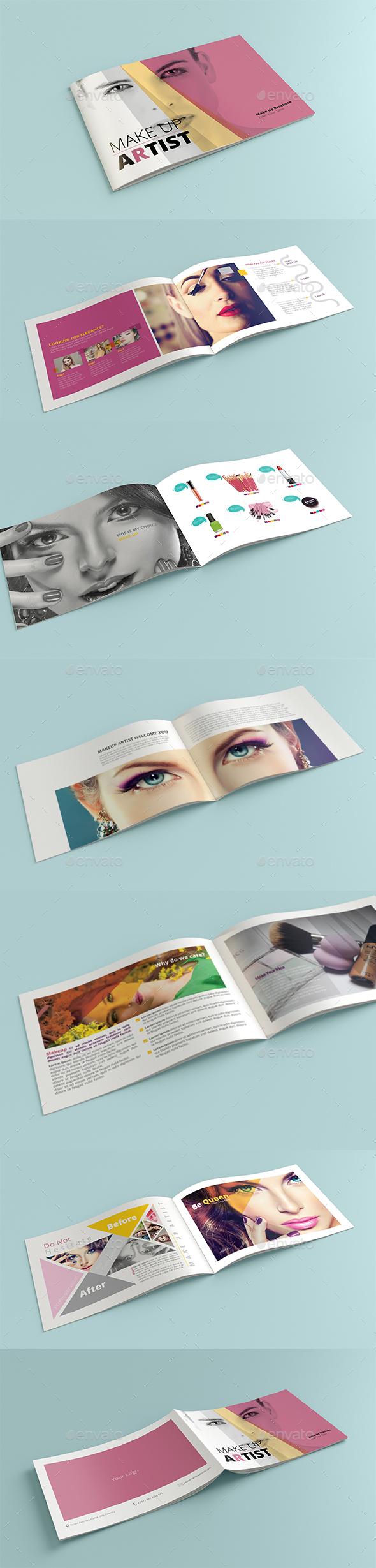 Brochure Makeup Artist landscape A5 - Brochures Print Templates