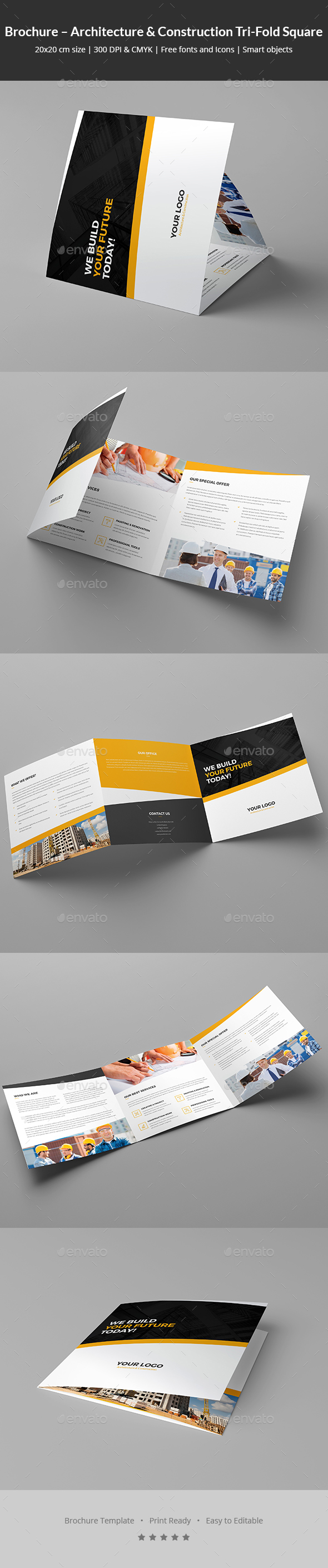 Brochure – Architecture and Construction Tri-Fold Square - Corporate Brochures