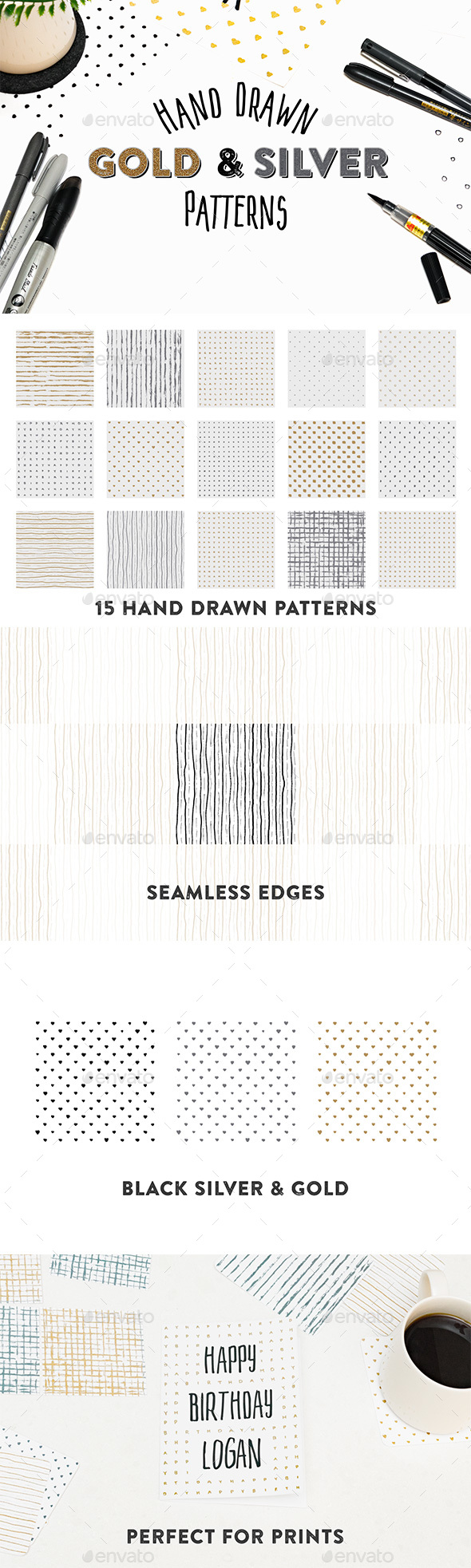 GraphicRiver 15 Hand Drawn Gold & Silver Patterns 20476281