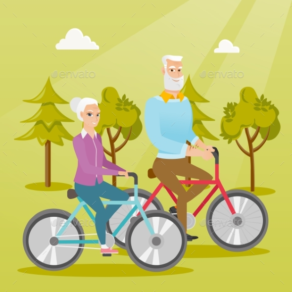 Happy Senior Couple Riding on Bicycles in Park. - People Characters