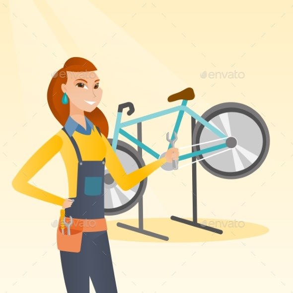 Caucasian Bicycle Mechanic Working in Repair Shop. - People Characters