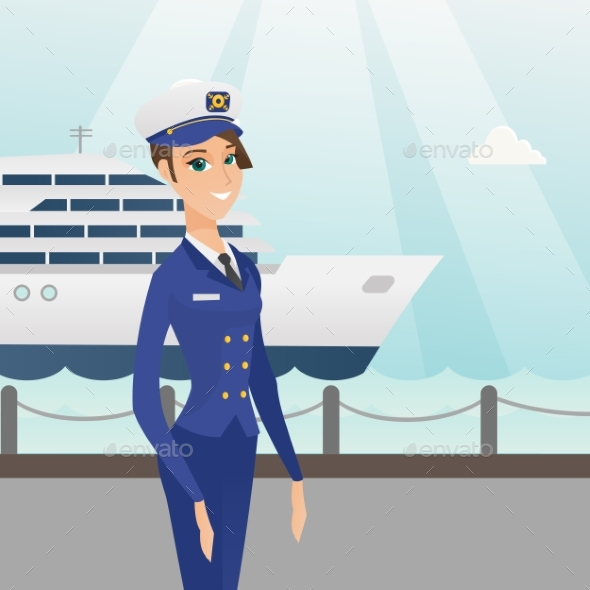 Caucasian Ship Captain in Uniform at the Port. - People Characters