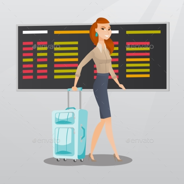 Caucasian Woman Walking with Suitcase at Airport. - People Characters