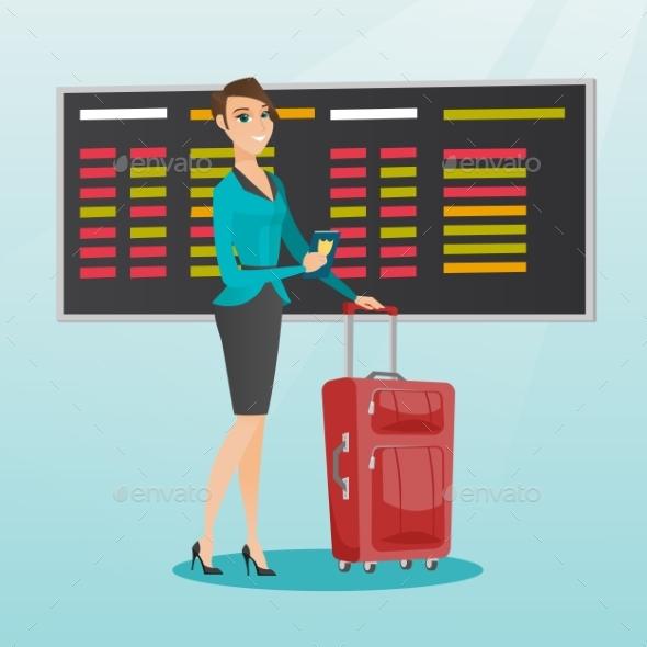Caucasian Airplane Passenger Holding Passport. - People Characters