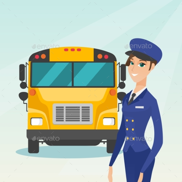 Young Caucasian Female School Bus Driver. - People Characters