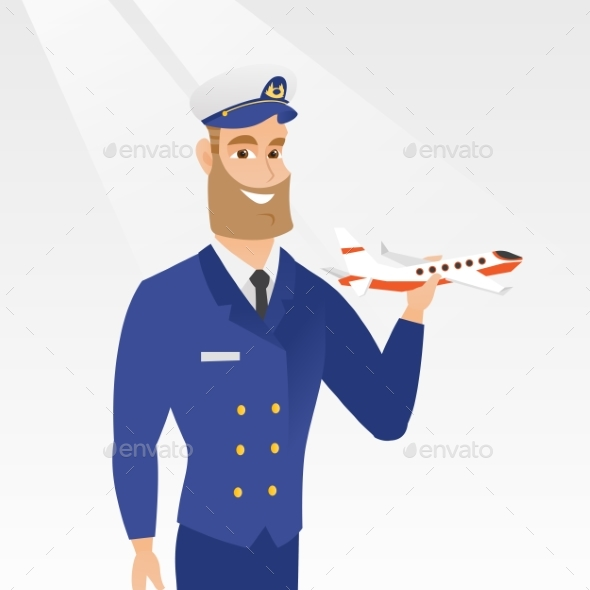 Cheerful Airline Pilot with the Model of Airplane. - People Characters