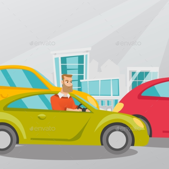 GraphicRiver Angry Caucasian Man in Car Stuck in Traffic Jam 20476618