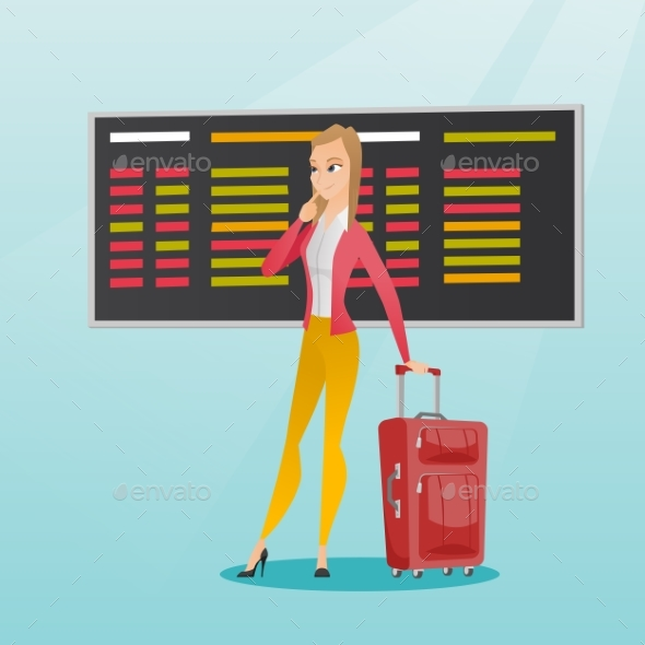 Woman Looking at Departure Board at the Airport. - People Characters